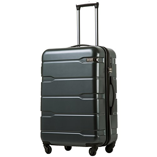 Coolife Luggage Expandable Suitcase PC+ABS Spinner 20in 24in 28in Carry on (Teal, M(24in).)