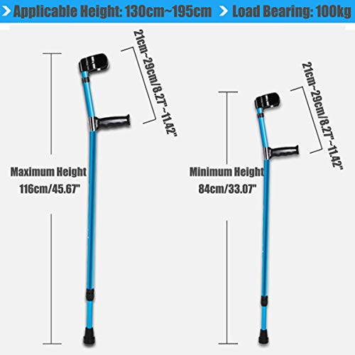 Water Hep Folding Walking Stick 1Pcs / 2Pcs Adjustable Forearm Elbow Underarm Crutches Telescopic Blue Folding Walking Sticks Aluminum Trekking Hiking Poles 1pcs - Adjustable Aluminum Underarm Crutch