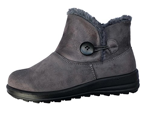 Boots Fur Size Fashion Tex Button Ladies Womens Lined Warm Walk Cushion 3 Boots Snug Thermo 8 Snow Ankle Grey F1t6nOtwqx