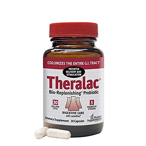(Master Supplements Theralac - 30 Vegan Capsules - Multi Strain Probiotic for Optimal Gut Health, Immune Booster, Gas and Bloating Relief - Gluten Free - 30 Servings)