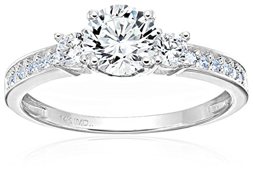 14k White Gold Cubic Zirconia Engagement Ring, Size 6.5