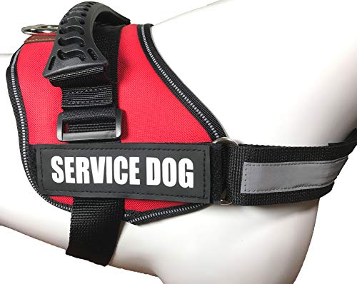 ALBCORP Service Dog Vest Harness - Reflective - Woven Polyester & Nylon, Comfy Mesh Padding, Extra Large, RED