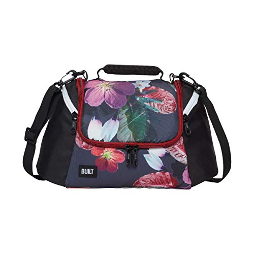 BUILT NY 5238348 All Day Water-Resistant Insulated Fabric Lunch Bag with Zip Closure and Removable Shoulder Strap 1 EA Midnight Botanical