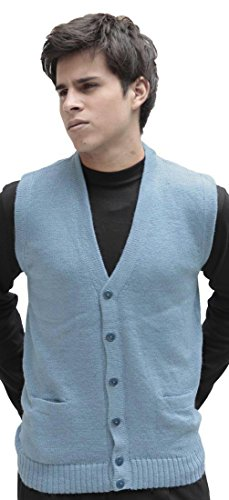 (Men's Soft Alpaca Wool Knitted V Neck Sweater Button Down Golf Vest (Large, Light Blue))