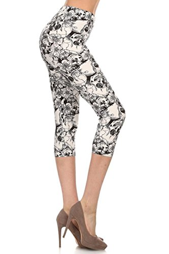 - R505-CA-PLUS Skulls and Florals Capri Print Leggings