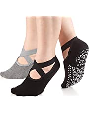 Yoga Socks with Grips for Women Barre Non Skid Socks Pilates Socks 2 Pairs