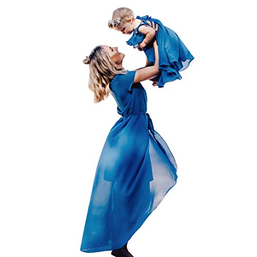 Mikilon Mommy and Me Plain Chiffon Belted Wrap Split High Low Beach Midi Sundress Mother Dauther Dress Blue