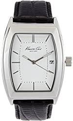Kenneth Cole New York Men's Silvertone With Black Leather Strap Barrel Watch