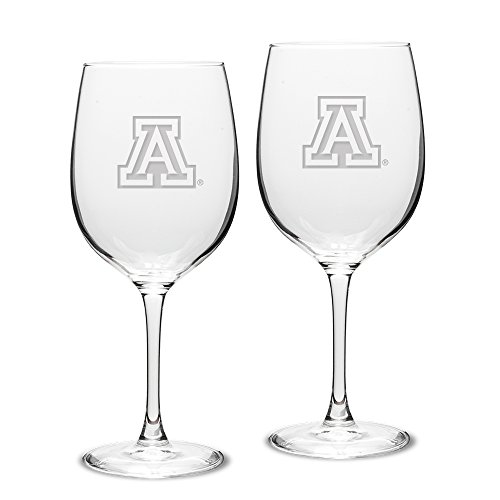 NCAA Arizona Wildcats Adult Set of 2 - 19 oz Robusto Red Wine Glasses Deep Etch Engraved, One Size, Clear