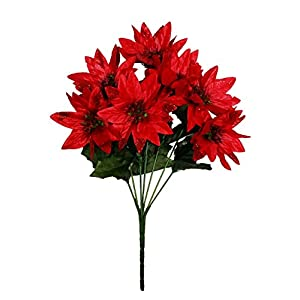 MM TJ Products Artificial Poinsettia Bouquet; 7 Stems W/Glitter (1)