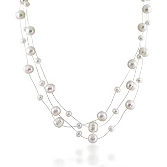 Mothers Day Jewelry Bridal 925 Silver Cultured Pearl Illusion Necklace 16in