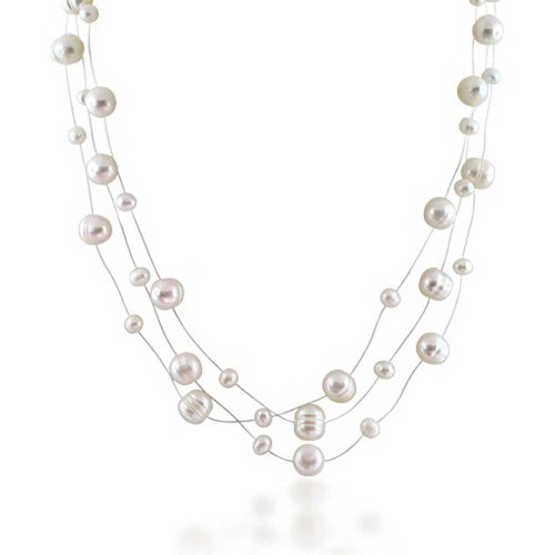 (Multi Strand Fishing Line White Freshwater Cultured Pearl Illusion Necklace For Women For Wedding For Bride Maid)