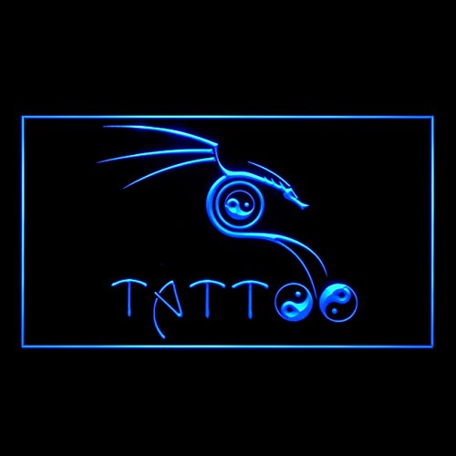 100091 Tribal Wu Tang Ying Yang Tattoo Piercing Display LED Light Sign by Easesign