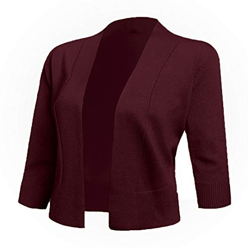 (AAMILIFE Women's 3/4 Sleeve Cropped Cardigans Sweaters Jackets Open Front Short Shrugs for Dresses (Large, 10-Burgundy) )