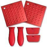 6 Piece Silicone Kitchen Set - Kitchen Addiction 2 Hot Handle Holders, 2 Trivet/Potholder/Grippers, 2 Assist Handles Set (Red)