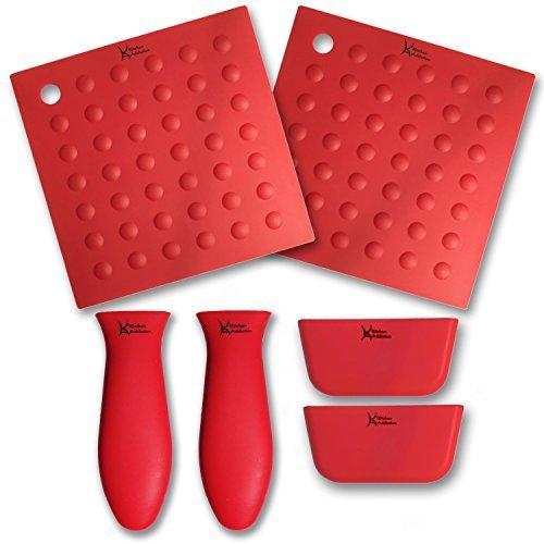 6 Piece Silicone Kitchen Set - Kitchen Addiction 2 Hot Handle Holders, 2 Trivet/Potholder/Grippers, 2 Assist Handles Set (Red) by Kitchen Addiction
