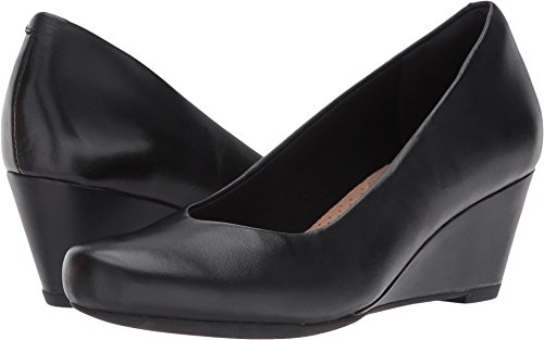 Clarks Women's Flores Tulip Wedge Pump,Black Leather,7.5 M U