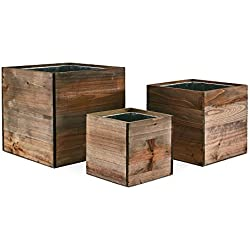 "CYS Excel Wood Cube Box Wood Planters Set of 3 with Removable Zinc Liner, 4"", 6"" and 8"""