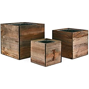 cys wood cube box wood planters set of 3 with removable zinc liner 4 - Wood Planters