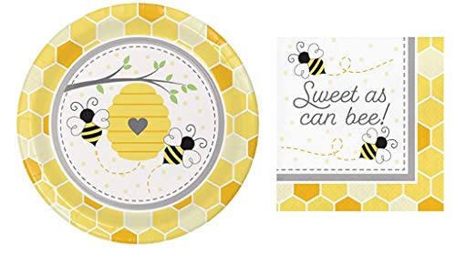 Bumblebee Baby Dinner Plates (16) and Sweet as Can Bee Luncheon Napkin (16) Bundle (Bumble Bee Plates)