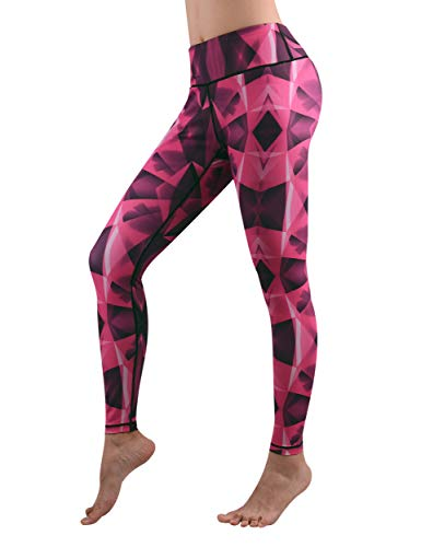 (DOVPOD Printed Yoga Pants High Waist Fitness Plus Size Workout Leggings Tommy Control Capris for Women Pink Diamond)