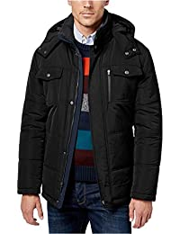 Men's Tall Size Wide Tubular Quilt Parka With Detachable Hood