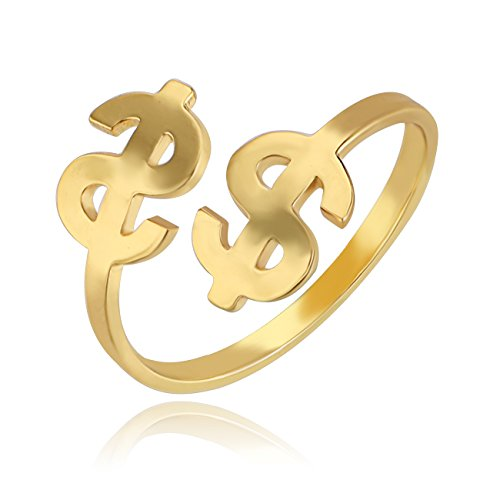 CHUANGYUN Dollar logo Open Adjustable Ring Good Luck Jewelry Small and (Money Sign Ring)