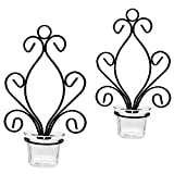 Halloween Wall Iron Candle Sconces, Set of 2 Elegant Hanging Candle Holders - with 2 Glasses, Decoration for Home Corridor Doorway Dining Living Room Wedding