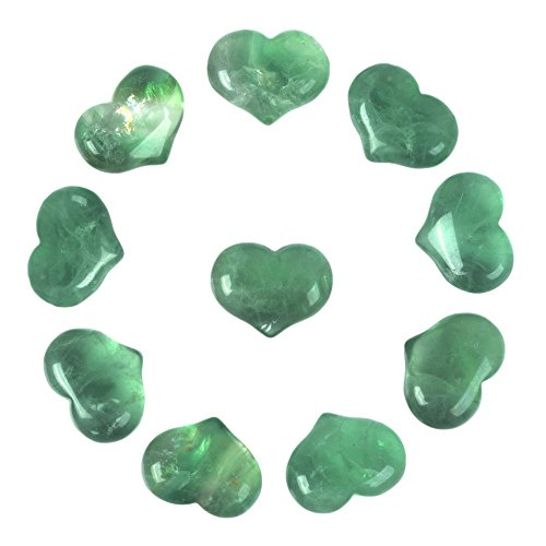 Justinstones Natural Green Fluorite Gemstone Healing Crystal 1 inch Mini Puffy Heart Pocket Stone Iron Gift Box (Pack of 10)