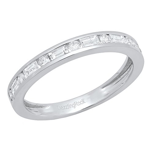 Dazzlingrock Collection 0.50 Carat (ctw) 14K Round & Baguette Diamond Wedding Stackable Band 1/2 CT, White Gold, Size 7 ()