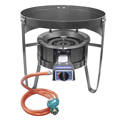 Vulcanus V-L01 Low Pressure Cast Iron Burner. 1-S Single Burner Stand with Wind Screen.