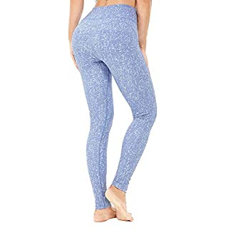 365 DAYS Higth Waist Yoga Pants for Women Pattern Tummy Control 4 Way Stretch Workout Running Pants (Blue, Small)