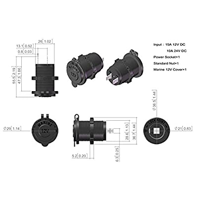 BANDC Waterproof Marine Motorcycle ATV Rv Lighter Socket Power Outlet Socket Receptacle 12v Plug: Sports & Outdoors