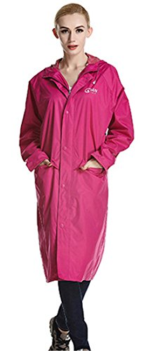 Liveinu Adult Lightweight PVC Long Size Hooded Raincoat Rose Red XL