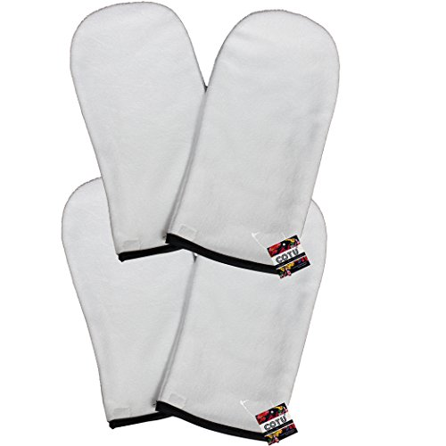 2 Pairs of COTU (R) Terry Cloth Thermal Mitts for Paraffin Wax Treatments with Closure to Keep Hands Warm (One Size Fits All)