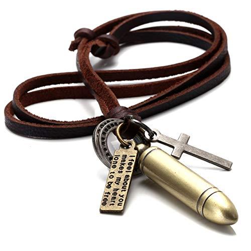 Zysta Herren-Halskette, mit verschiedenen Anhängern: Patronenhülse im Vintage-Goldton, Kreuz, Ringe, Lederhalskette, 40,6 – 81,3cm
