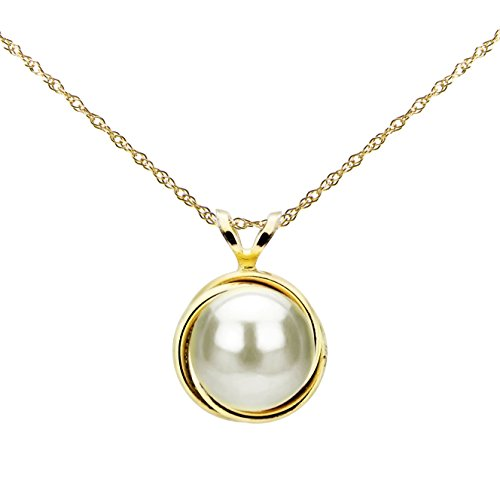 14k Yellow Gold 8-8.5mm White Button-shape Freshwater Cultured Pearl Love-knot Bazel Design Pendant, 18'' by La Regis Jewelry