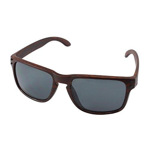 Faux Wood Wayfarer Sunglasses, Brown Frame, Black Lens, - Faux Sunglasses Wood