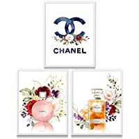 "Chanel Wall Art | 11""X14"" | UNFRAMED | Designer Perfume Art Prints for Living Room Bedroom Bathroom Dorm Teen Girls Room | Home Decor Accents | Home Decorations | Set of 3"