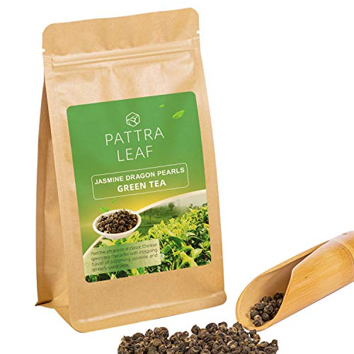 Jasmine Green Tea with Premium Flavor Organic Loose Leaf Tea Dragon Pearls, Hand Picked and Rolled Jasmine Blossoms with Food Grade Resealable Bag, 4oz (Dragon Pearl Jasmine Tea)
