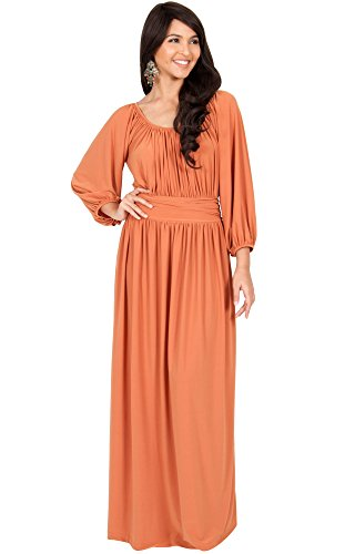 KOH KOH Plus Size Women Long Sleeve Sleeves Vintage Peasant Empire Waist Fall Loose Flowy Fall Winter Casual Maternity Abaya Gown Gowns Maxi Dress Dresses, Orange 2 X 18-20 - Sleeve Maternity Pleat Dress