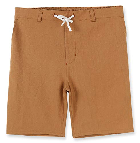 (Estepoba Men's Linen Cotton Casual Classic Fit Drawstring Walk Short Caramel Khaki XL)