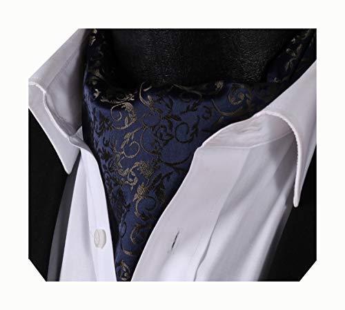 (Enmain Men's Paisley Jacquard Woven Self Cravat Tie Ascot Navy Blue)
