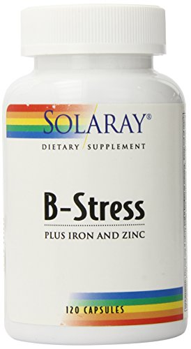 Solaray B-Stress Plus Iron and Zinc Supplement, 120 Count