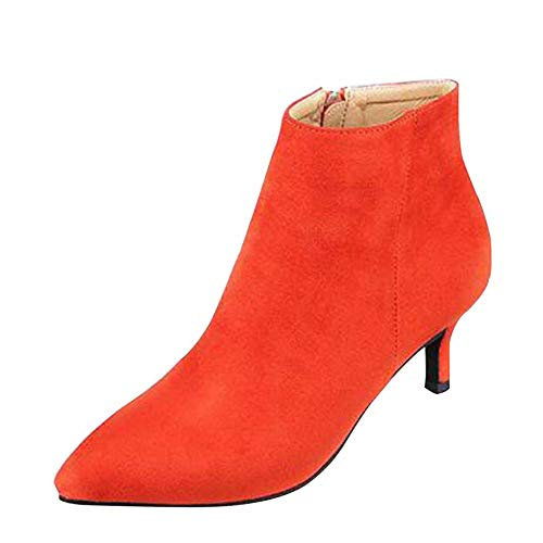 Punta Velluto Spillo Moda Donna Camoscio Orange A Sexy Tacco Scarpe Stivaletti In xwqZaYXX0