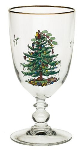 Spode Christmas Tree 16-oz Single Pedestal Glass Goblet with Gold Trim