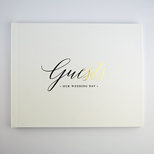 Please + Thanks Gold Foil Wedding Guest Book, White Casebound Hardcover, 50 Acid-Free Blank White Interior Sheets (100 Total Pages), 10.5 x 8.25 Inches