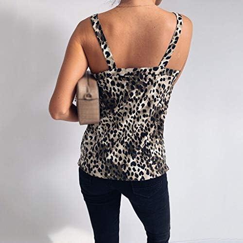 DFSM 夏のストリートフェスティバルのタンクトップの女の子ノースリーブVネックシャツヒョウプリント (Color : Brown, Size : XL)