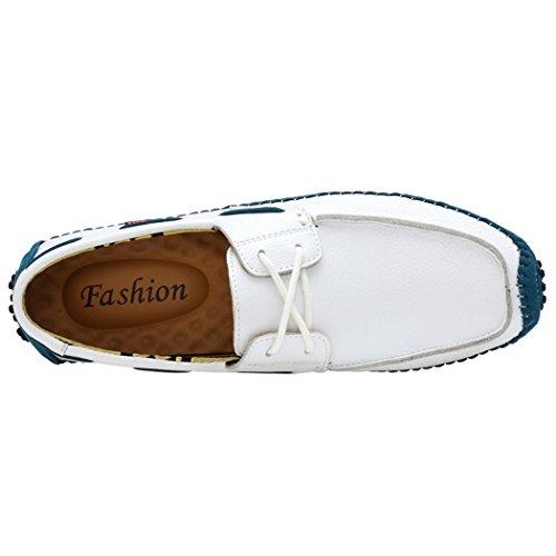 Soleil Lorence Hommes En Cuir Chaussures De Conduite Flâneurs Mocassins Enfiler Et Lacer Chaussures Bateau Décontracté Blanc-laque