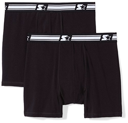 Starter Men's 2-Pack Cotton-Blend Stretch Boxer Brief, Prime Exclusive, Black/Black, Extra Large - Exclusive Two Pack